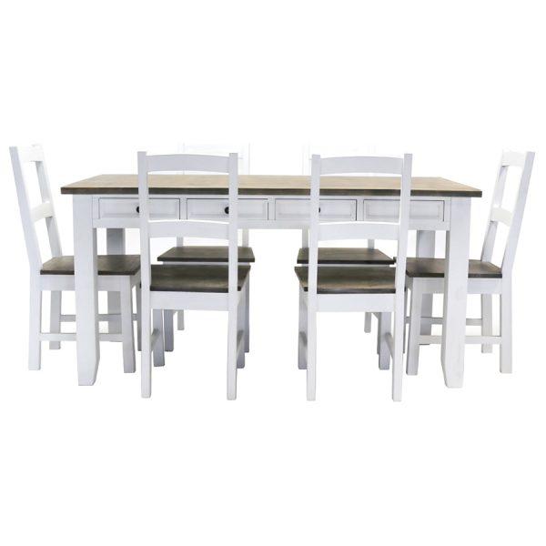 Charles Bentley Hampton 6-Seater Dining Set - White