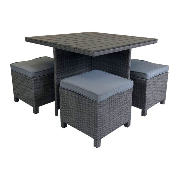 Charles Bentley Rattan & Polywood Cube Dining Set - Grey