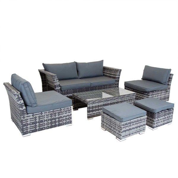 Charles Bentley St Tropez Rattan Lounge Set - Grey