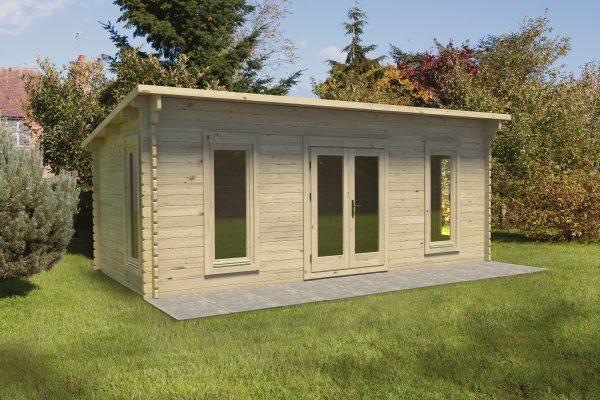 Forest Arley Log Cabin Pent Roof, Double Glazed 24kg Polyester Felt, no Underlay - 6.0m x 3.0m - VARL45D63P2HD