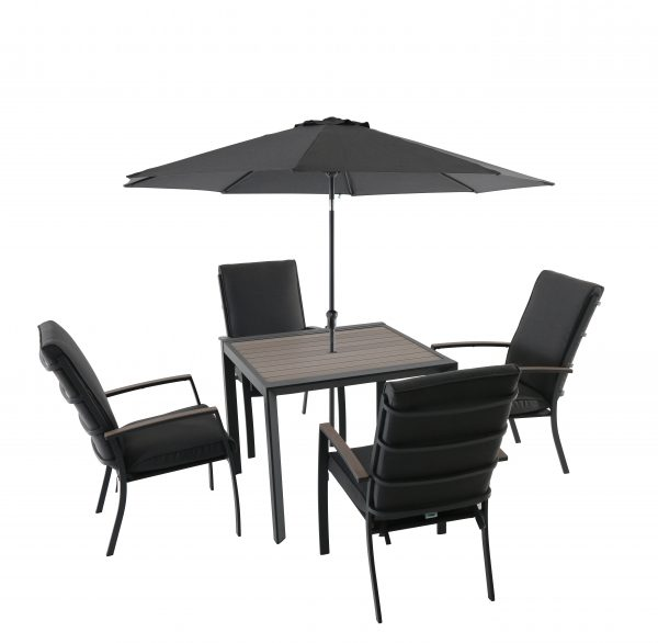 LG Outdoor Milano 4 Seat Dining Set with Highback Armchairs, 2.5m Parasol and Base (Graphite /Anthracite)