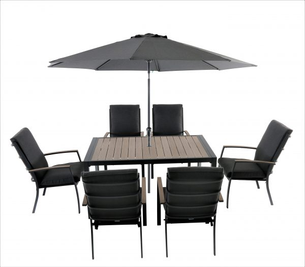 LG Outdoor Milano 6 Seat Dining Set with Highback Armchairs with 3.0m Parasol and Base (Graphite/Anthracite)