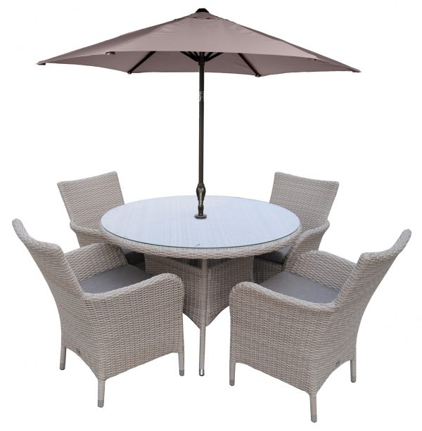 LG Outdoor Monaco 4 Seat Dining Set with Soleil Parasol