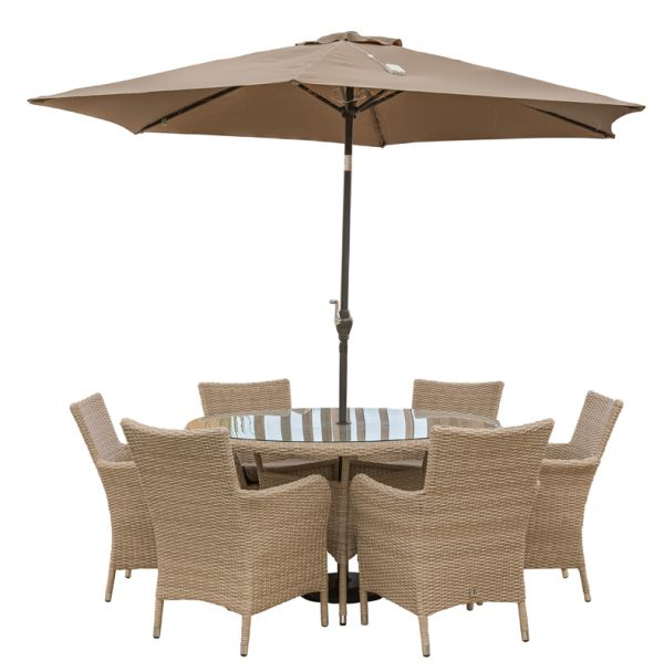 LG Outdoor Monaco 6 Seat Dining Set with Soleil Parasol