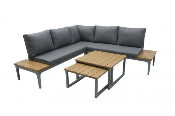 LG Outdoor Siena Cushioned Modular Lounge Set with Nested Tables (Light/Modern Grey)