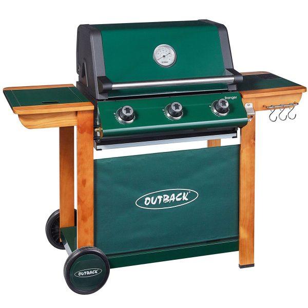 Outback Ranger 3-Burner Hybrid Gas & Charcoal Barbecue - Green