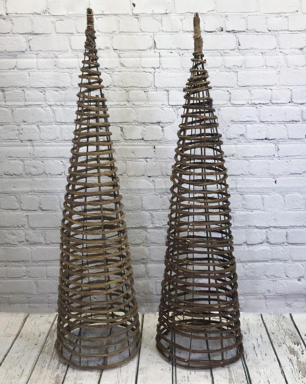 Set of 2 Willow Twist Spiral Garden Obelisks (1.5m)