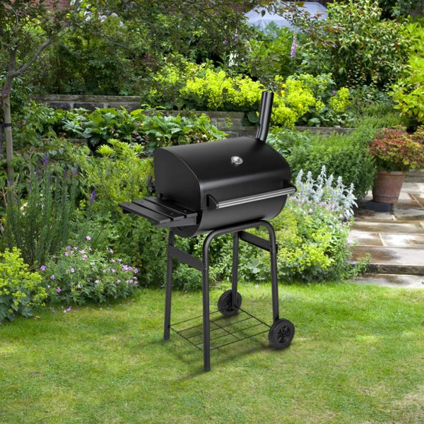 BillyOh Charcoal BBQ Grill Barrel Barbecue with Side Shelf Black 79x124x48cm - Portable BBQ Grill
