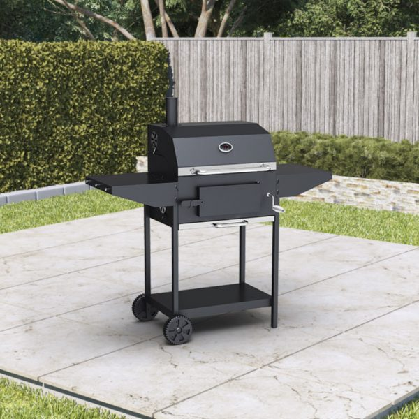 BillyOh Kentucky Smoker BBQ Charcoal Grill Outdoor Barbecue with Shelves 124x113x66cm - Black Chimney Charcoal BBQ