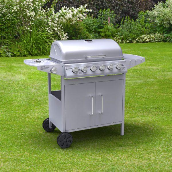 BillyOh Matrix Gas BBQ 6 Burner + Side Burner Hooded Barbecue Silver 129x98x55cm - 6 Burner