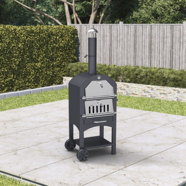 BillyOh Smoker BBQ Outdoor Pizza Oven Charcoal Grill Barbecue Black 50x156x37cm - Black Pizza Oven