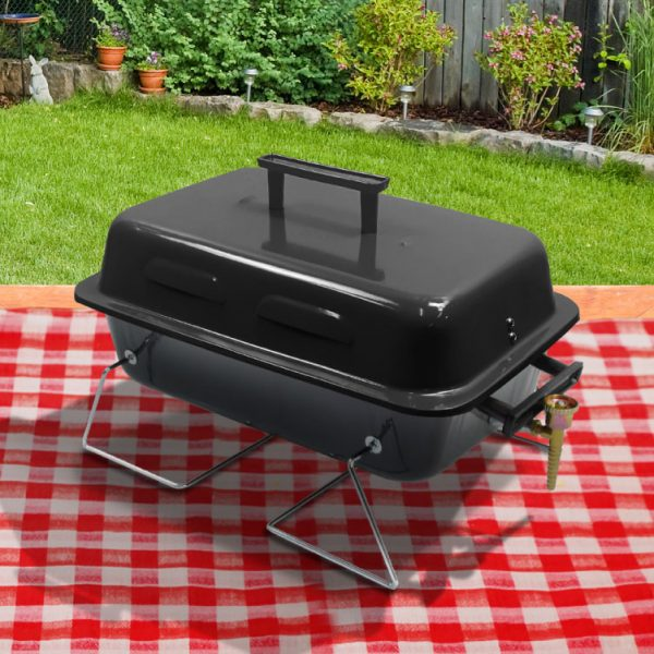 BillyOh Table Top Gas BBQ Grill Portable Lightweight Barbecue - Black or Red 48x27.5x29cm - Black