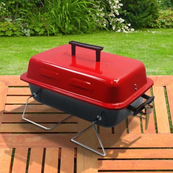 BillyOh Table Top Gas BBQ Grill Portable Lightweight Barbecue - Black or Red 48x27.5x29cm - Red