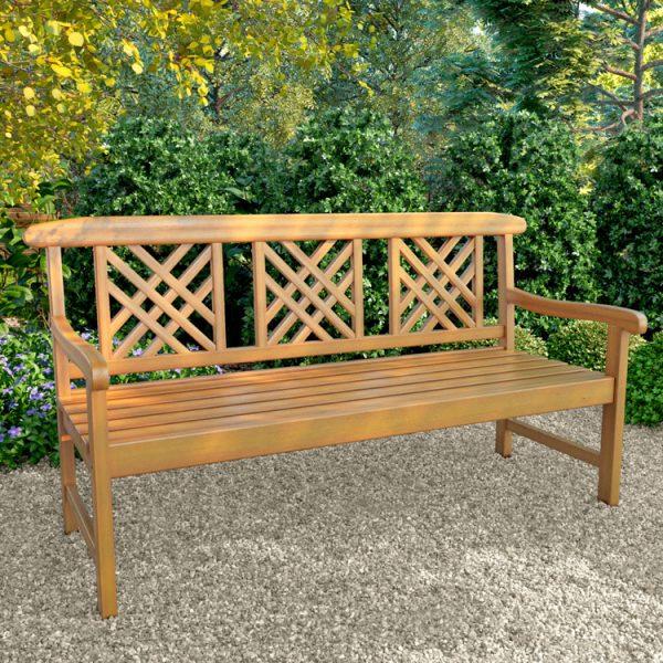 BillyOh Windsor 3 Seater Wooden Lattice Back Garden Bench - 3 Seater Bench