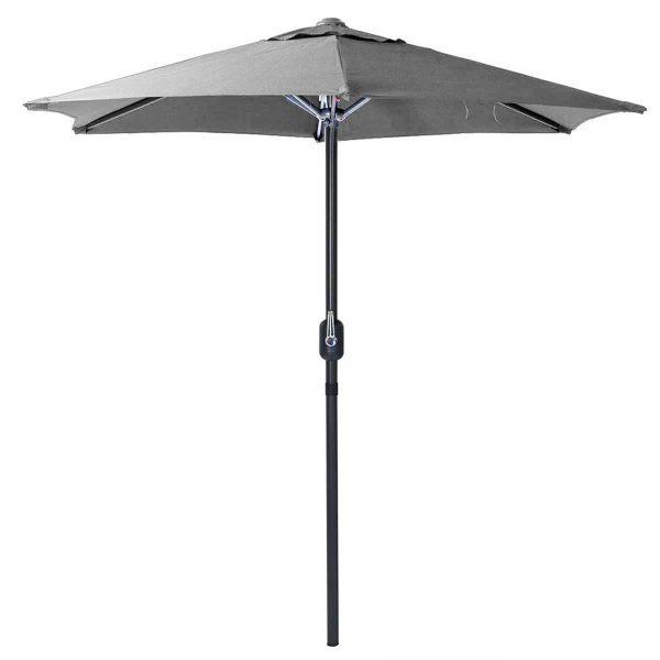 Charles Bentley 2m Metal Parasol With Crank - Grey