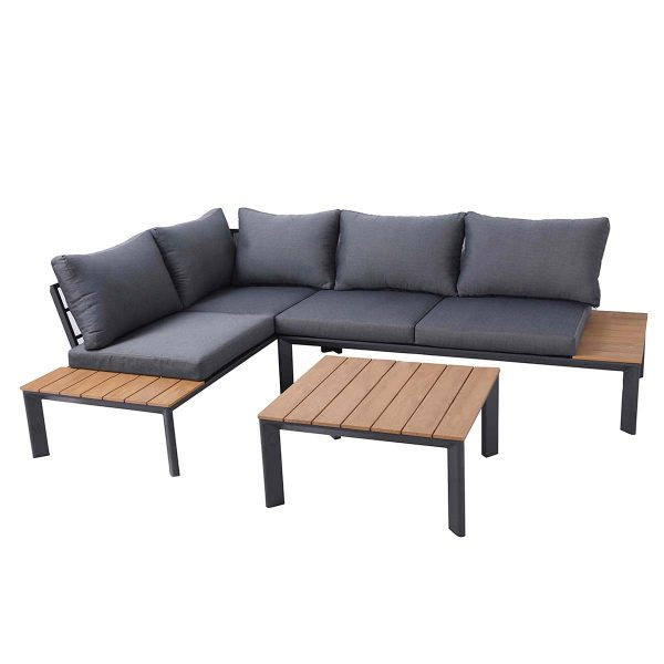 Charles Bentley Polywood & Steel Lounge Set With Recliner