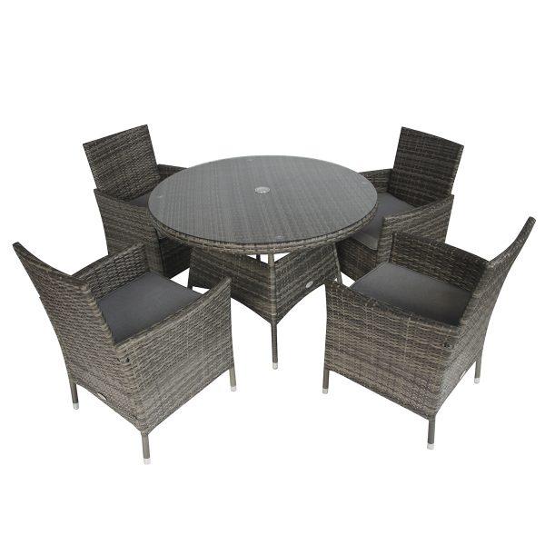 Charles Bentley 4 Seater Rattan Dining Set - Grey