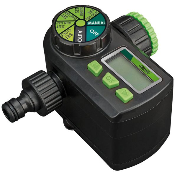 Draper Ball Valve Electronic Water Timer - Black and Green