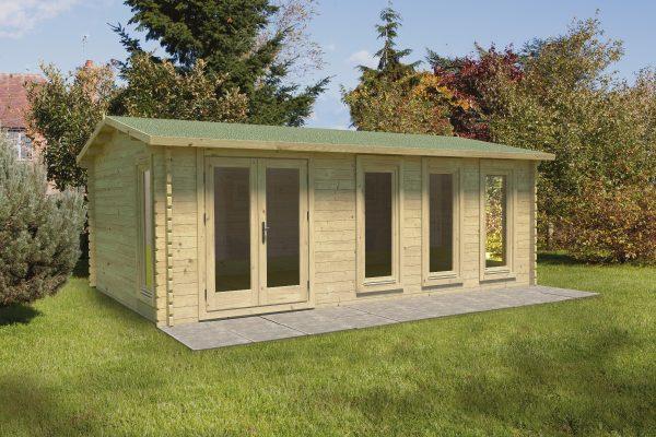Forest Blakedown Log Cabin Apex Roof, Double Glazed Felt Shingles, plus Underlay - 6.0m x 4.0m - VBLA45D64SHHD