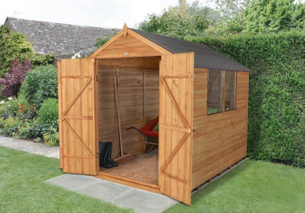 Forest Garden Apex Overlap Dipped Double Door 8 x 6 Wooden Garden Shed (ASSEMBLED)
