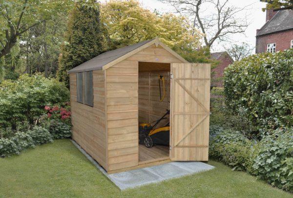 Forest Garden Apex Overlap Pressure Treated 8 x 6 Wooden Garden Shed