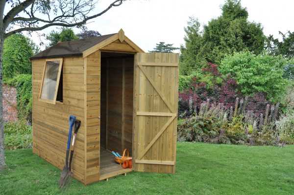 Forest Garden Apex Tongue & Groove Pressure Treated 6 x 4 Wooden Garden Shed (ASSEMBLED)
