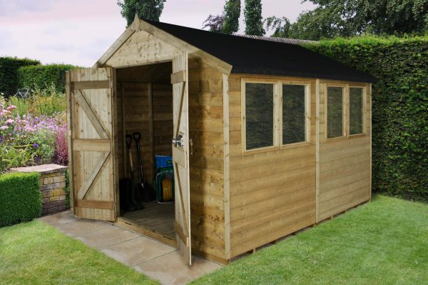 Forest Garden Apex Tongue & Groove Pressure Treated Double Door 10 x 8 Wooden Garden Shed (ASSEMBLED)