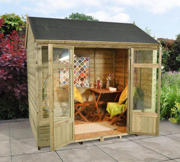 Forest Garden Kempsford Summerhouse - 8 x 6 Shiplap Reverse Apex Pressure Treated