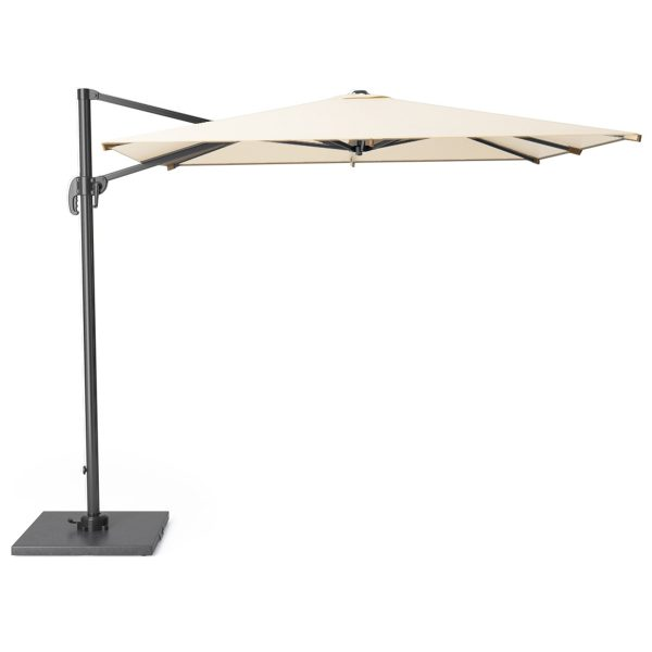 Pacific Lifestyle Falcon T1 3m Round Ivory Parasol with Burnt Black Granite 90KG Parasol Base