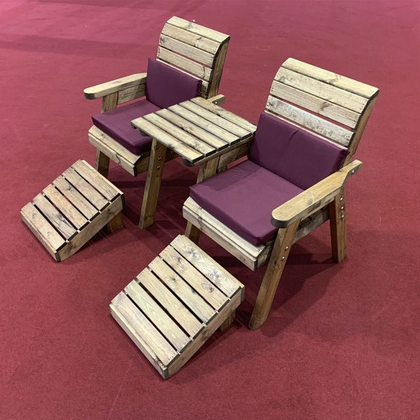 Charles Taylor Deluxe Lounger Set Straight with Burgundy Cushions and Fitted Cover