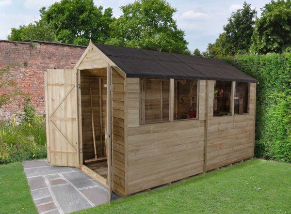 Forest Garden Apex Overlap Pressure Treated Double Door 10 x 6 Wooden Garden Shed