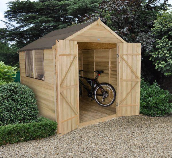 Forest Garden Apex Overlap Pressure Treated Double Door 7 x 7 Wooden Garden Shed (ASSEMBLED)