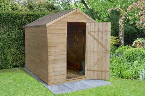 Forest Garden Apex Overlap Pressure Treated No Window 8 x 6 Wooden Garden Shed (ASSEMBLED)