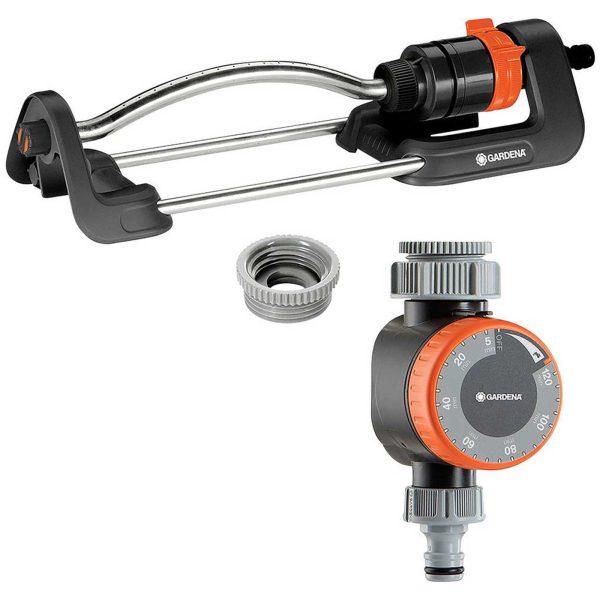 Gardena Aqua S Oscillating Garden Sprinkler and Water Timer Set