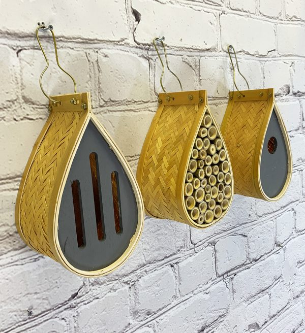 Hanging Teardrop Bird Nest Box, Insect Hotel & Butterfly House Wildlife Care Set