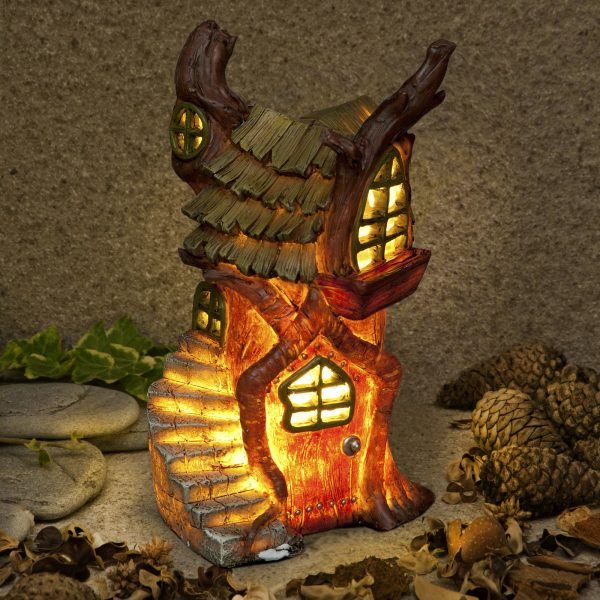 "Garden Glows ""Home of Shadow Firefall"" Illuminated Fairy House Solar Light"