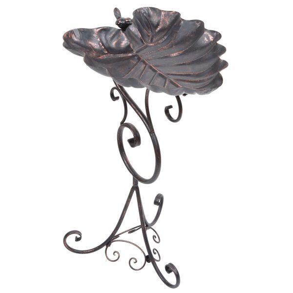 Bronze Ornate Leaf Pedestal Bird Bath
