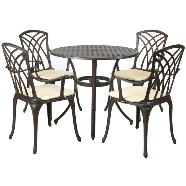 Charles Bentley 5-Piece Metal Stamford Patio Set With Cushions