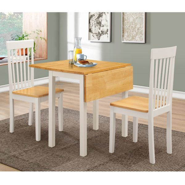 Heartlands Furniture Atlas White Dropleaf Dining Set with 2 Chairs