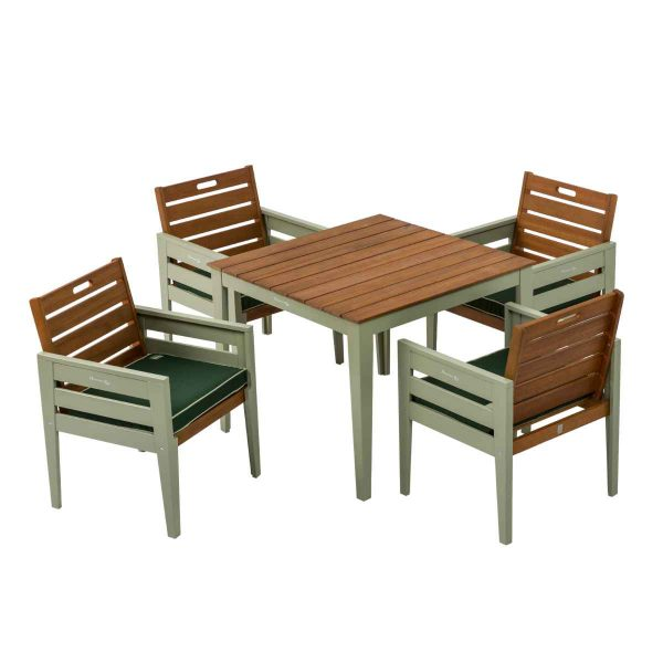 Florenity Verdi Dining Set with 4 Chairs - Natural/Green