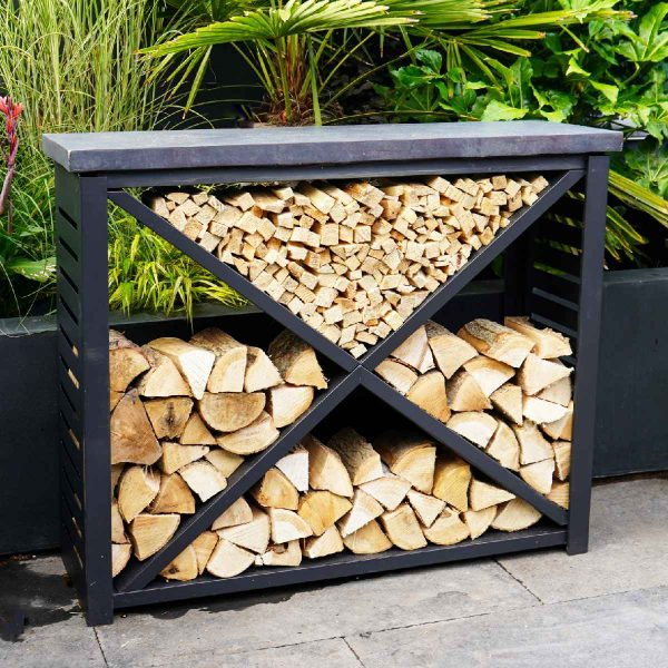 Ivyline 94cm Metal Log Store with Fibreclay Top - Cement