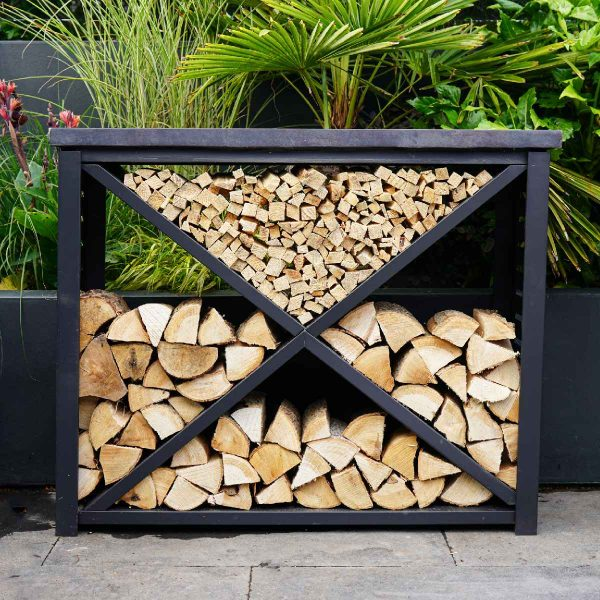 Ivyline 94cm Metal Log Store with Fibreclay Top - Granite