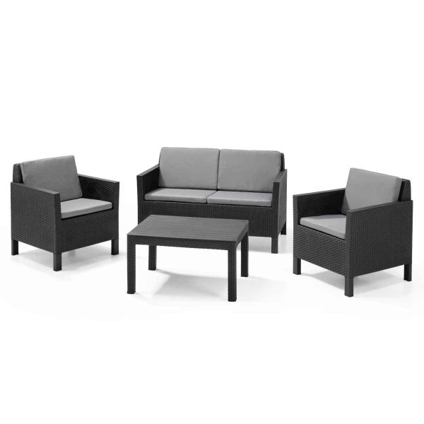 Keter Chicago 4 Seat Outdoor Lounge Set - Grey