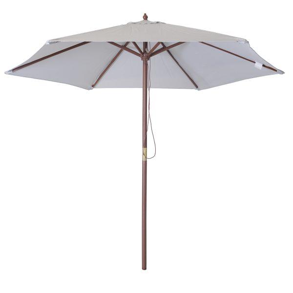 Charles Bentley 2.4m Wooden Parasol - Grey