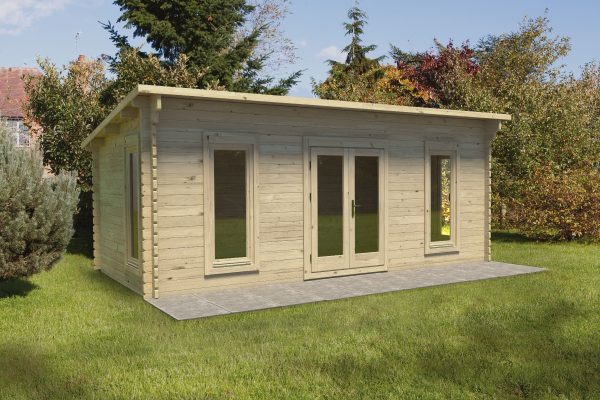 Forest Arley Log Cabin Pent Roof, Double Glazed 24kg Polyester Felt, no Underlay - 20ft x 11ft