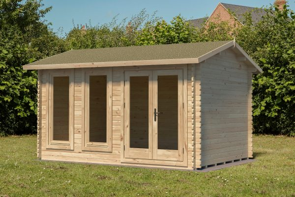 Forest Chiltern Log Cabin Apex Roof, Double Glazed with Felt Shingles and Underlay - 13ft x 10ft