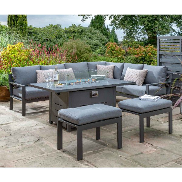 Handpicked Titchwell Corner Lounge Set with Firepit Table - Grey