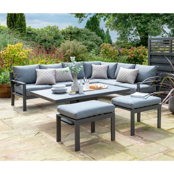 Handpicked Titchwell Corner Lounge Set with Gas Adjustable Table - Grey