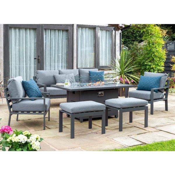 Handpicked Titchwell Lounge Set with Firepit Table - Grey