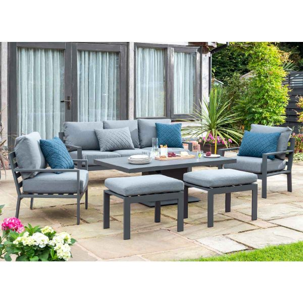 Handpicked Titchwell Lounge Set with Gas Adjustable Table - Grey